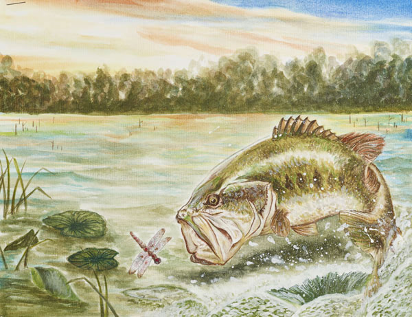 "Yuki Ki Wongs art piece is titled ""Moment"", and really captures the surface feeding aggression of largemouth bass."