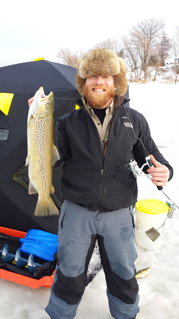 Trophy brown trout like this can be caught throughout the winter in many of Lake Ontario's harbors while ice fishing with live minnows.