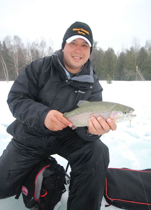 Rainbows are hard fighting fish caught through the ice or open water and as a bonus, they are excellent eating!