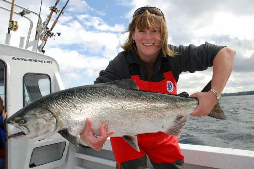 Looking forward to next season's ocean salmon fishing? Jacqueline Pendlington with a bright Chinook (King) Salmon landed while ocean fishing.