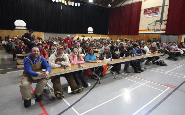Over 400 competitors gathered in the large auditorium to enjoy a fresh rainbow trout dinner and many of them received great prizes!