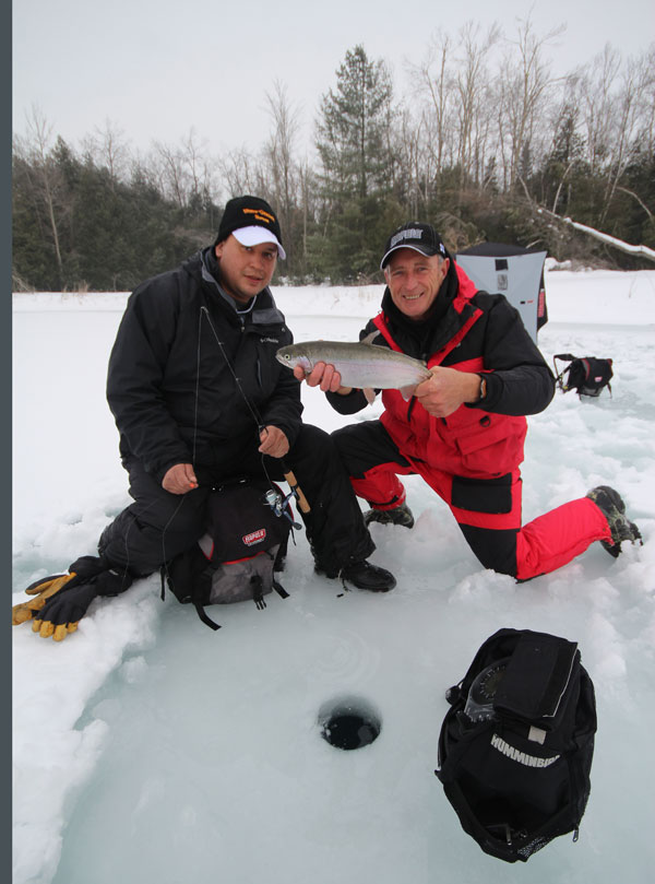 Having a good ice fishing system that includes a warm, waterproof suit that floats, like the Arctic Armor, a Rapala portable Shack, a Humminbird Ice 55 sonar, Normark auger and the right Rapala ice fishing combos and lures, really helps anglers to catch more fish!
