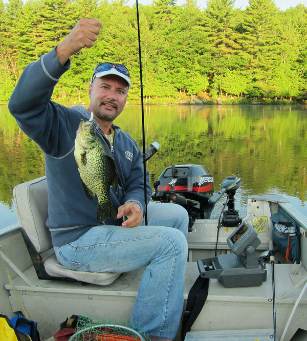 Crappie in Ahmic Lake can grown big feeding on the plentiful smelt population so its no surprise Brian caught this beauty fishing a Rapala on the surface!