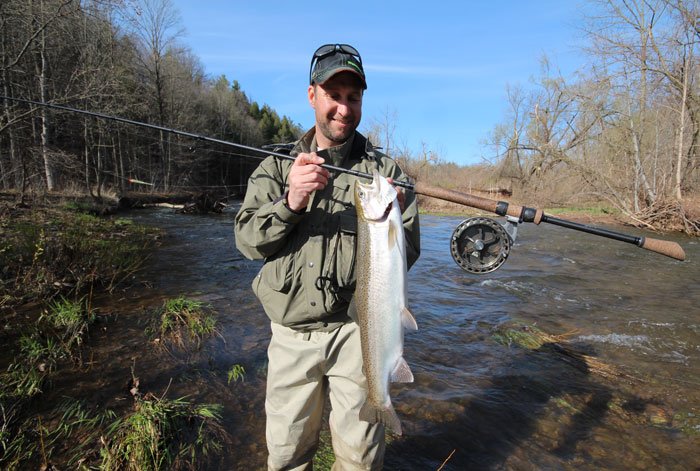 """Post-spawn steelhead revert back to their slim, Great Lakes shape and very bright """"chrome"""" silver color.   Besides fighting well, they also take both bait and artificials very aggressively!"""