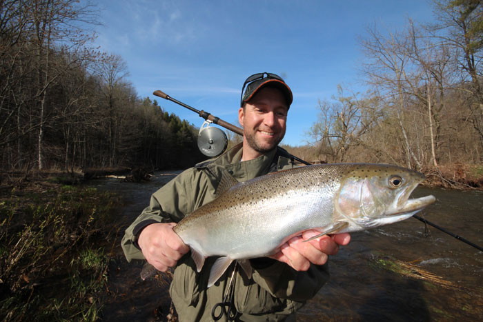 """Aaron was able to easily muscle this prime """"drop-back"""" steelhead using his 13' Shift Drift Rod and Shift Set-back Drift Reel and 8 lb test Sufix Seige main line and Sufix 6 lb test Fluorocarbon leader."""