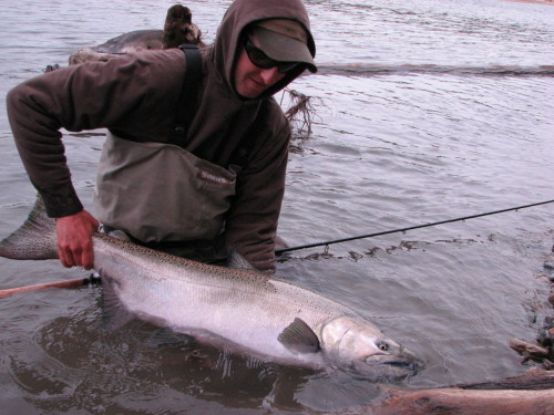 Pro angling guide Sky Richard of Nicholas Dean Lodge with a beautiful Chinook (King) Salmon caught and released on the Kitimat River a few years ago. Photo by Chad Black.