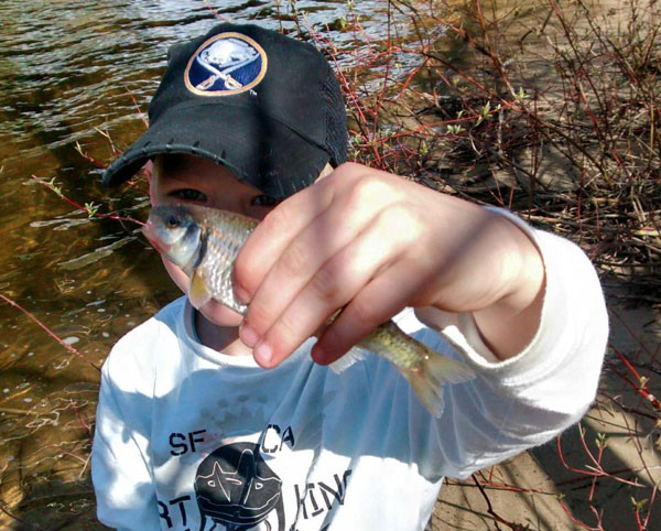 Austin with a common shiner.  Both shiners and chub are commonly caught while targeting trout in most of our southern Ontario streams during late spring/summer.