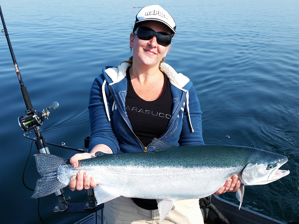 Melanie's 12lb rainbow trout put on a great air show