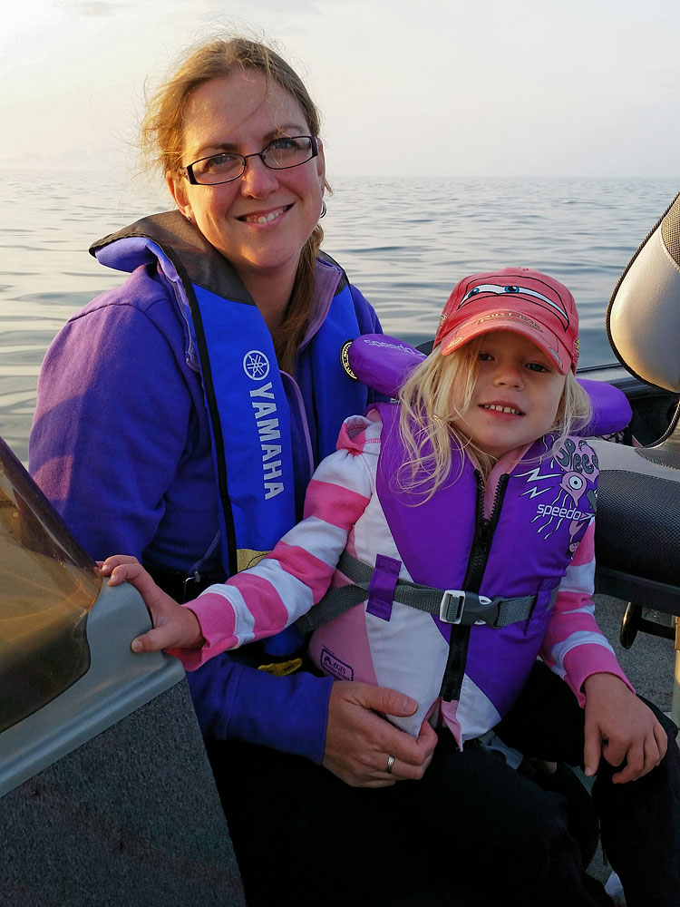 My wife and daughter enjoying the time on the water
