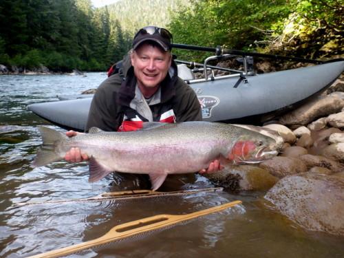 Local angler Dennis Therrien wih a beautiful Kalum River Steelhead.