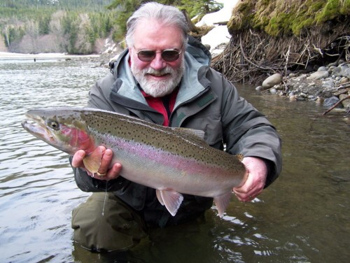 Me (Noel Gyger) with a beautiful Kalum River late fall Steelhead landed many years ago. I started fishing the Kalum in the late 70's. In 1983 my friend Jim Candelora hooked into an 83-pound Chinook which I helped land, the river record at the time. That fish changed my life and got me interested in the fish guiding and tourism business...and the rest is history.